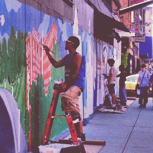 SPREADING AWARENESS ABT COMMUNITY Mayor @Angel_Taveras, the mural's looking great! @projo @AS220 #Providence #RI http://shar.es/i4fvy (at Downtown Providence)