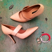 {SHOES} Pink-toned Beige Heels from Forever21; {EARRINGS} Pink-toned Rectangular Jewel Studs from Macy's; {BRACELET} Neon Pink Mixed with White/Black/Jeweled Beads from Flaunt Boutique in RI